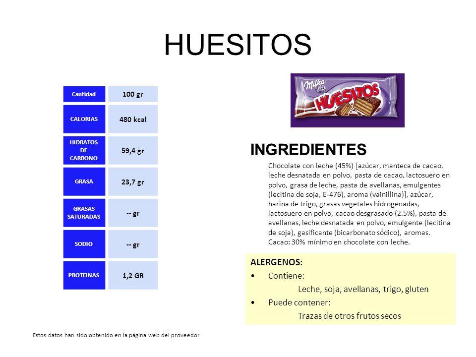 HUESITOS INGREDIENTES Chocolate con leche (45%) [azúcar, manteca de cacao, leche desnatada en polvo, pasta de cacao, lactosuero en polvo, grasa de lec