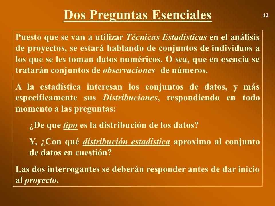 Dos Preguntas Esenciales 12 Puesto que se van a utilizar Técnicas Estadísticas en el análisis de proyectos, se estará hablando de conjuntos de individ