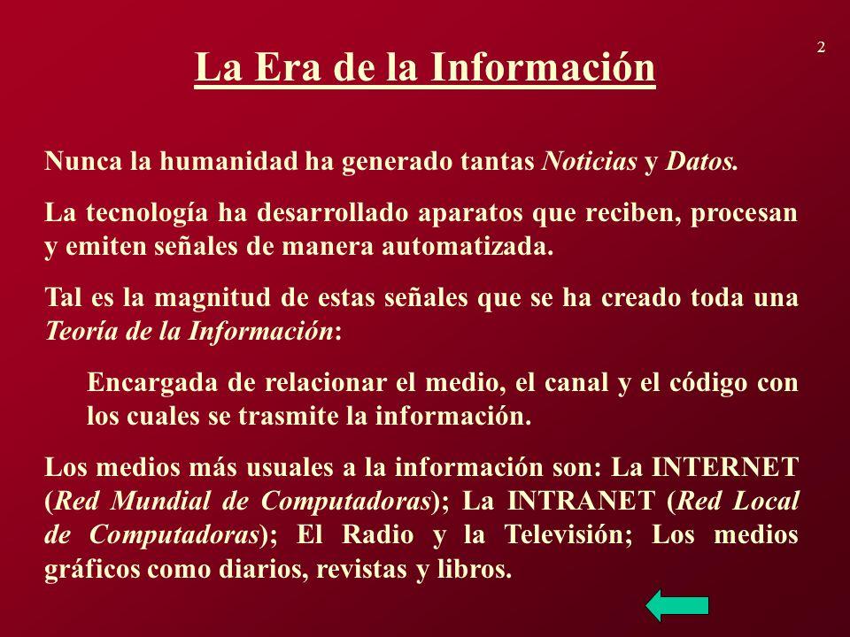 2 La Era de la Información Nunca la humanidad ha generado tantas Noticias y Datos. La tecnología ha desarrollado aparatos que reciben, procesan y emit