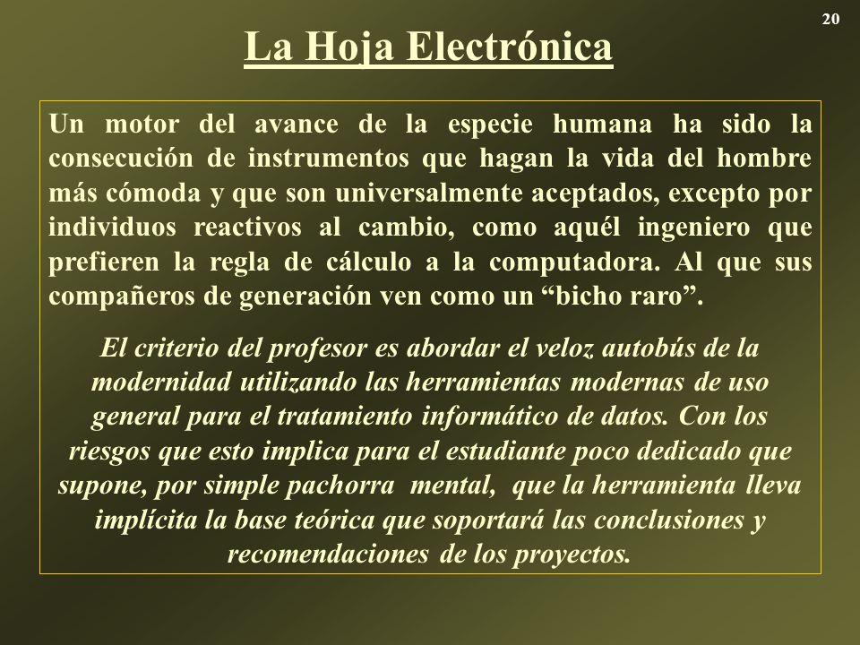La Hoja Electrónica Un motor del avance de la especie humana ha sido la consecución de instrumentos que hagan la vida del hombre más cómoda y que son