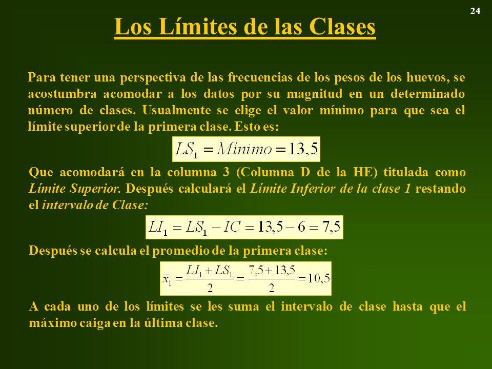 Los Límites de las Clases 24 Para tener una perspectiva de las frecuencias de los pesos de los huevos, se acostumbra acomodar a los datos por su magni