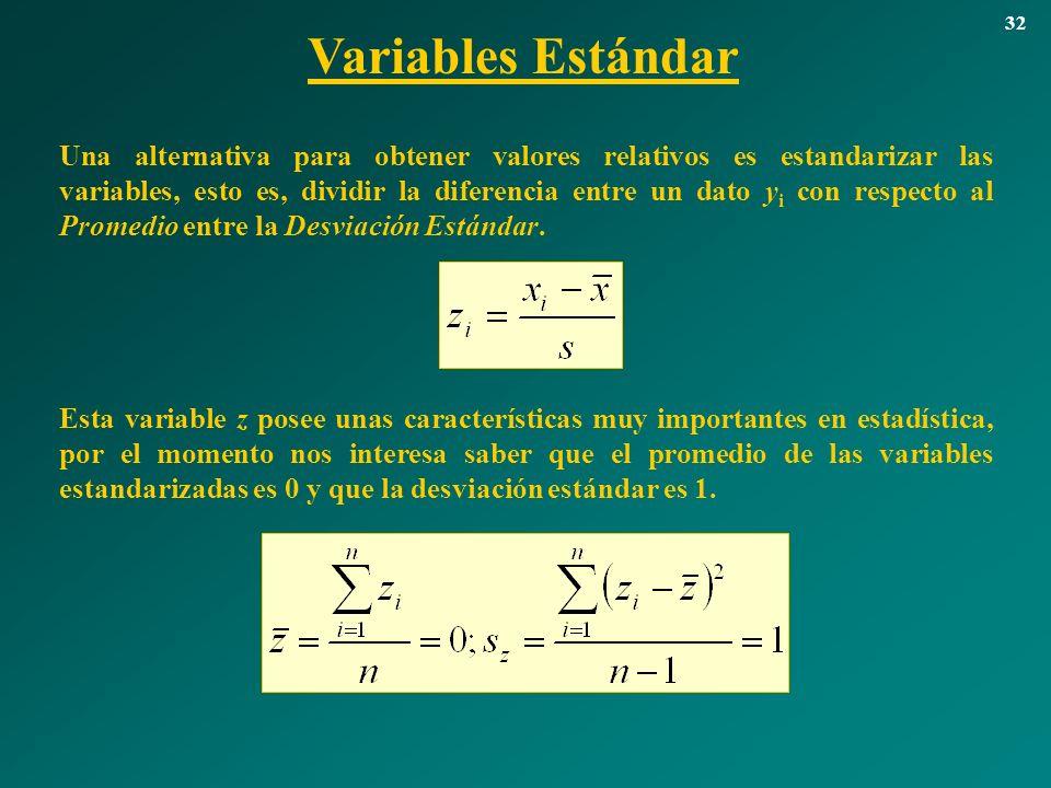 Variables Estándar 32 Una alternativa para obtener valores relativos es estandarizar las variables, esto es, dividir la diferencia entre un dato y i c