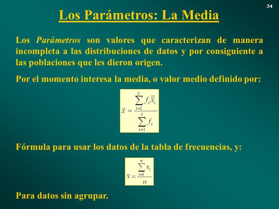 Los Parámetros: La Media 34 Los Parámetros son valores que caracterizan de manera incompleta a las distribuciones de datos y por consiguiente a las po
