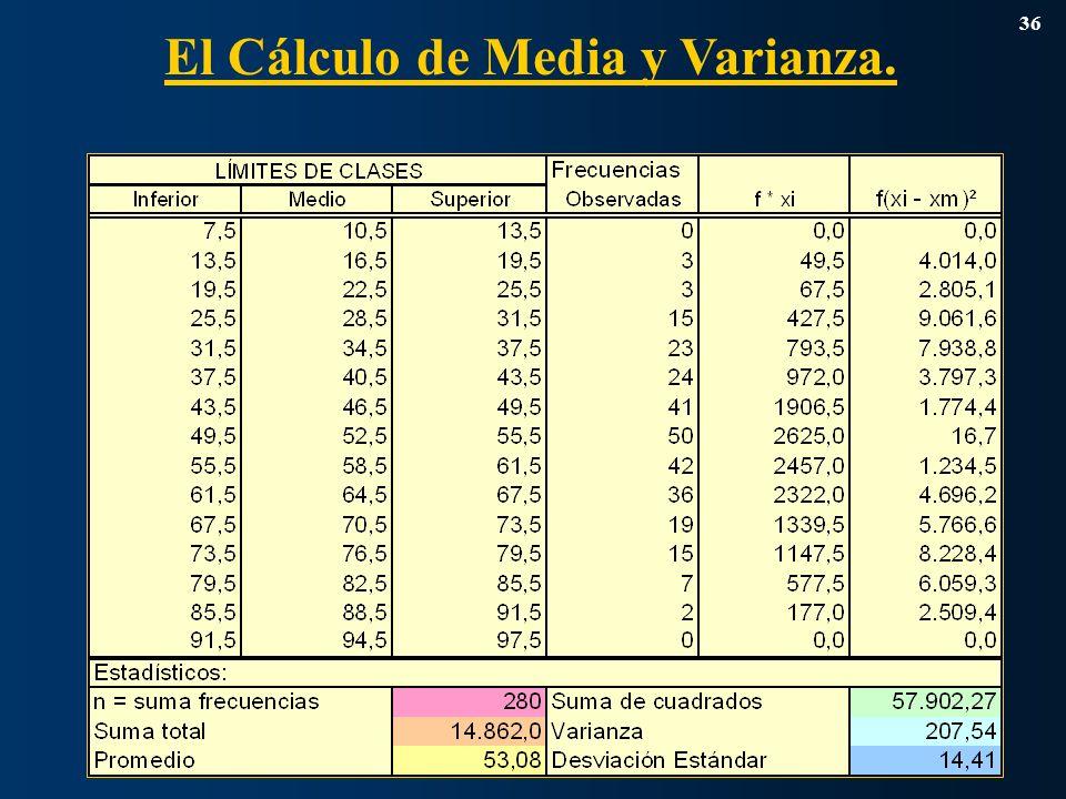 El Cálculo de Media y Varianza. 36