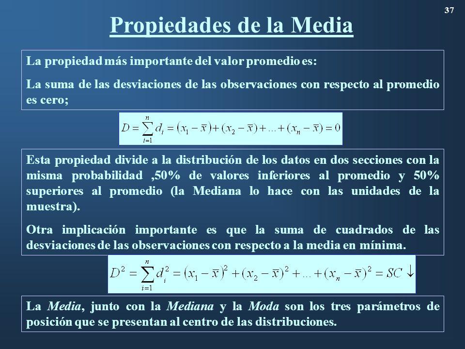 Propiedades de la Media 37 La propiedad más importante del valor promedio es: La suma de las desviaciones de las observaciones con respecto al promedi