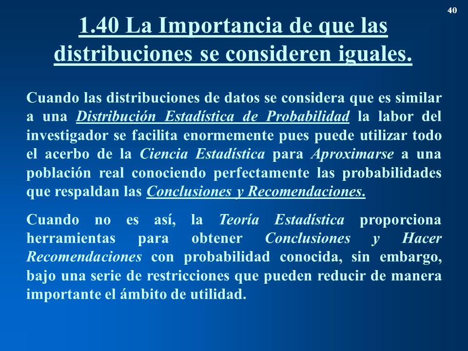 1.40La Importancia de que las distribuciones se consideren iguales. 40 Cuando las distribuciones de datos se considera que es similar a una Distribuci