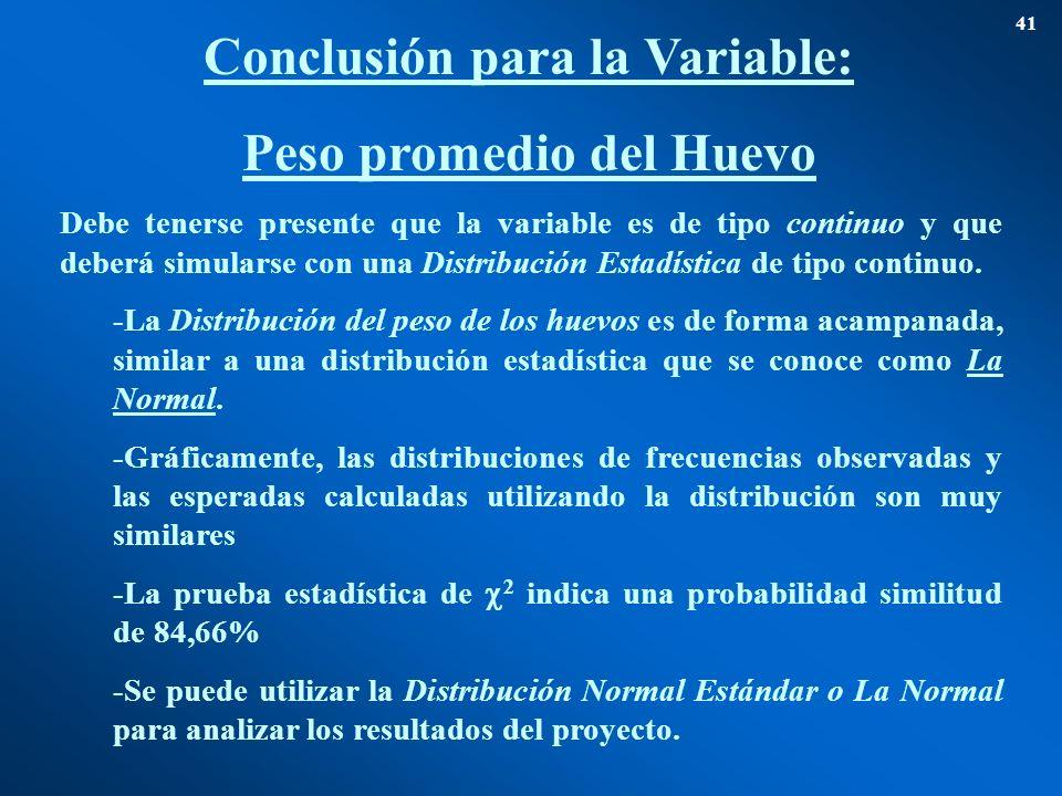Conclusión para la Variable: Peso promedio del Huevo 41 Debe tenerse presente que la variable es de tipo continuo y que deberá simularse con una Distr