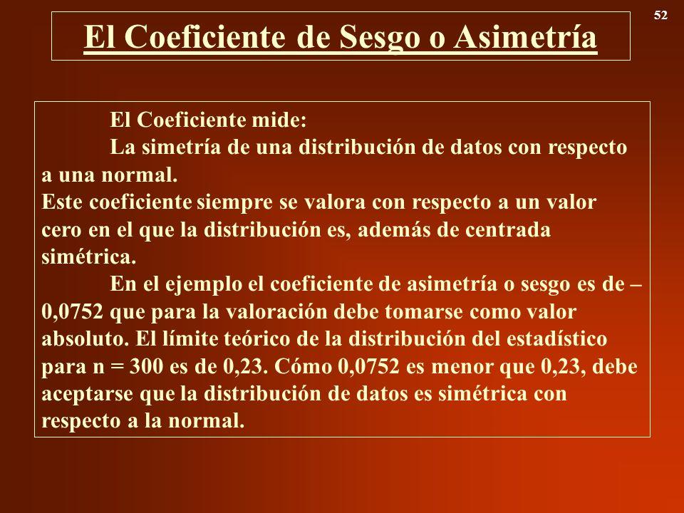 El Coeficiente de Sesgo o Asimetría 52 El Coeficiente mide: La simetría de una distribución de datos con respecto a una normal. Este coeficiente siemp