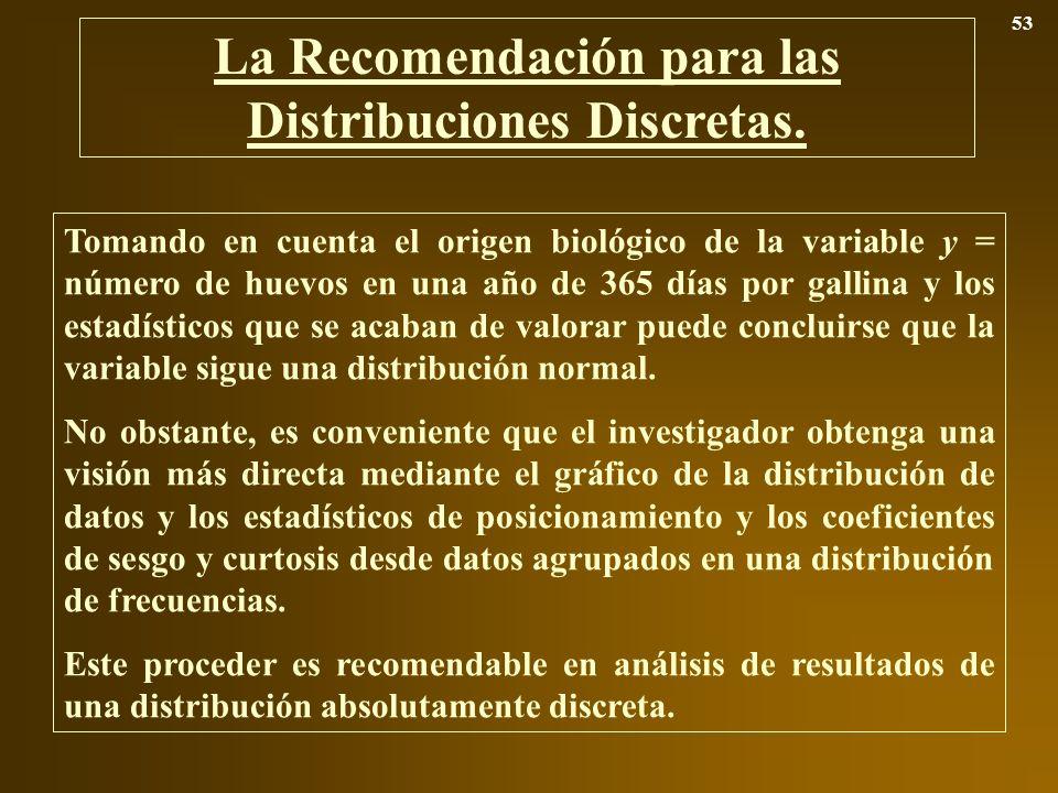 La Recomendación para las Distribuciones Discretas. 53 Tomando en cuenta el origen biológico de la variable y = número de huevos en una año de 365 día