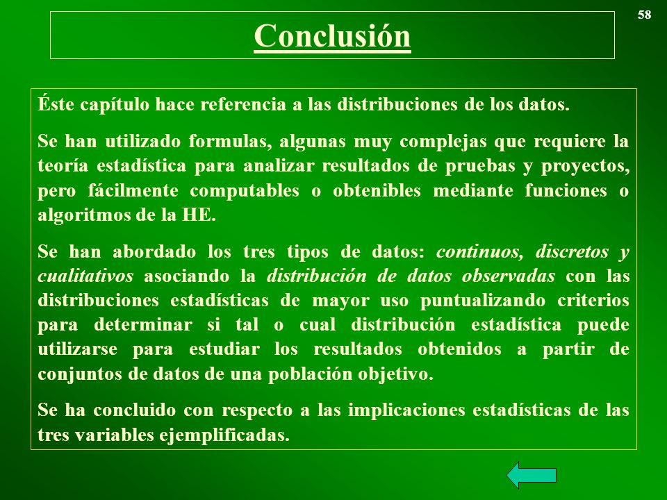 Conclusión 58 Éste capítulo hace referencia a las distribuciones de los datos. Se han utilizado formulas, algunas muy complejas que requiere la teoría