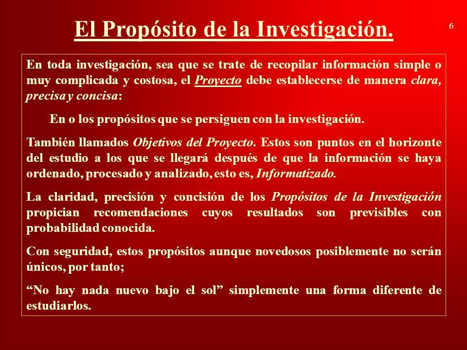 El Propósito de la Investigación. 6 En toda investigación, sea que se trate de recopilar información simple o muy complicada y costosa, el Proyecto de