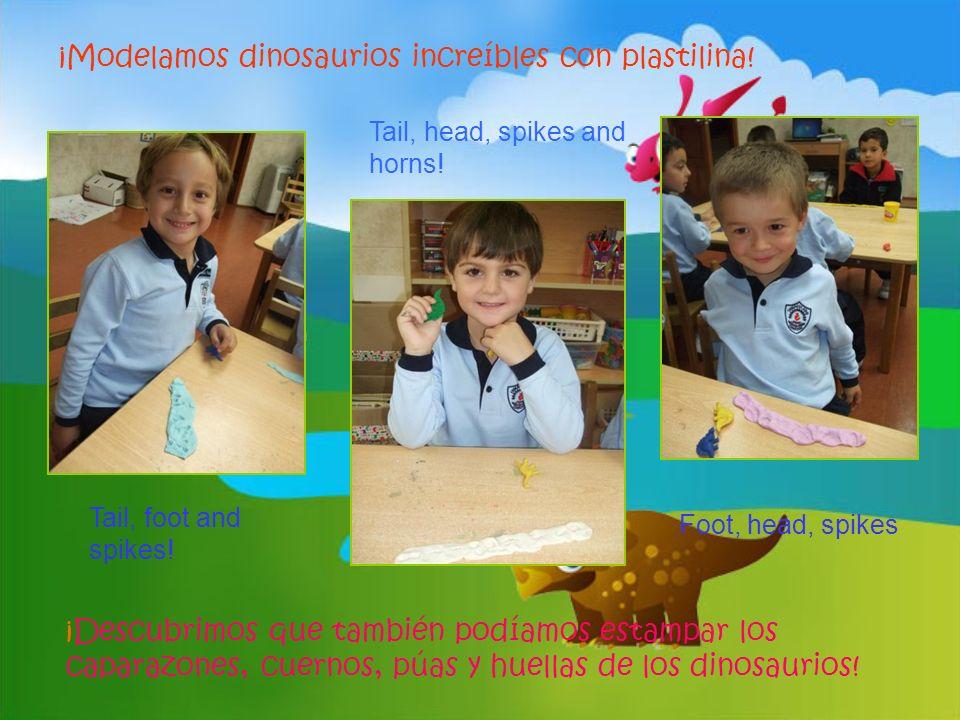 ¡Modelamos dinosaurios increíbles con plastilina! ¡Descubrimos que también podíamos estampar los caparazones, cuernos, púas y huellas de los dinosauri