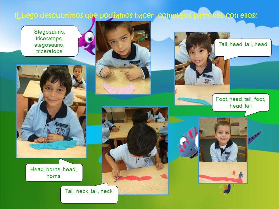 ¡Luego descubrimos que podíamos hacer complejos patrones con ellos! Head, horns, head, horns Tail, head, tail, head Tail, neck, tail, neck Foot, head,