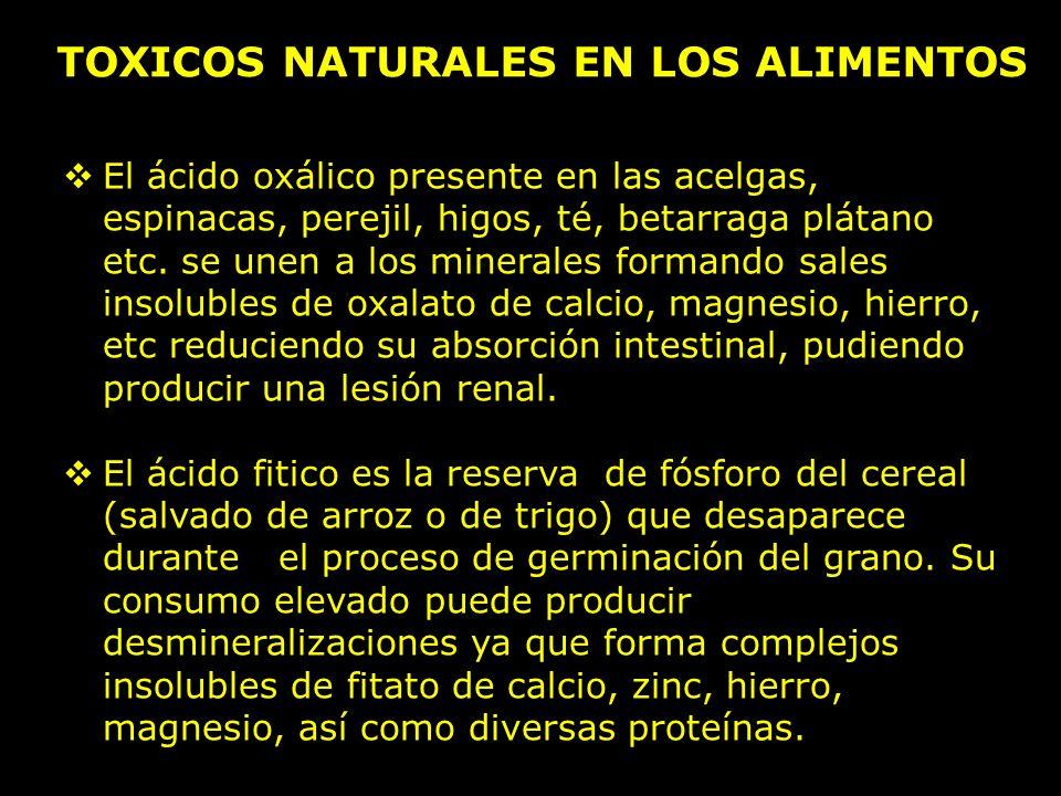TOXICOS NATURALES EN LOS ALIMENTOS El ácido oxálico presente en las acelgas, espinacas, perejil, higos, té, betarraga plátano etc.