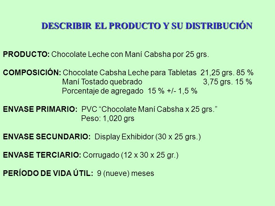 DESCRIBIR EL PRODUCTO Y SU DISTRIBUCIÓN PRODUCTO: Chocolate Leche con Maní Cabsha por 25 grs. COMPOSICIÓN: Chocolate Cabsha Leche para Tabletas 21,25