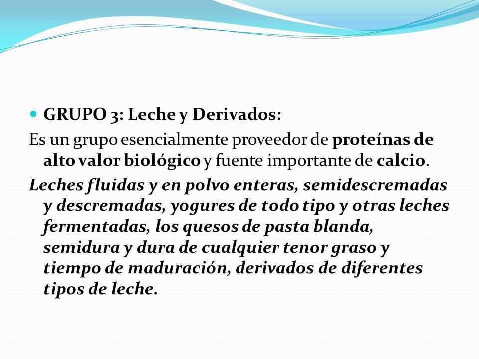 GRUPO 3: Leche y Derivados: Es un grupo esencialmente proveedor de proteínas de alto valor biológico y fuente importante de calcio. Leches fluidas y e