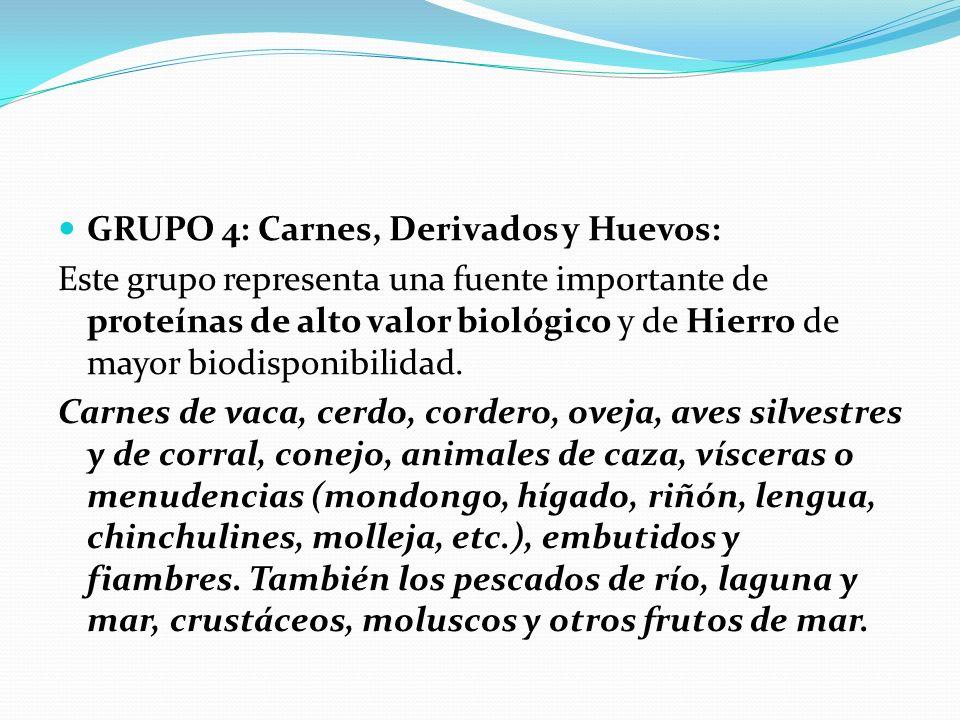 GRUPO 4: Carnes, Derivados y Huevos: Este grupo representa una fuente importante de proteínas de alto valor biológico y de Hierro de mayor biodisponib