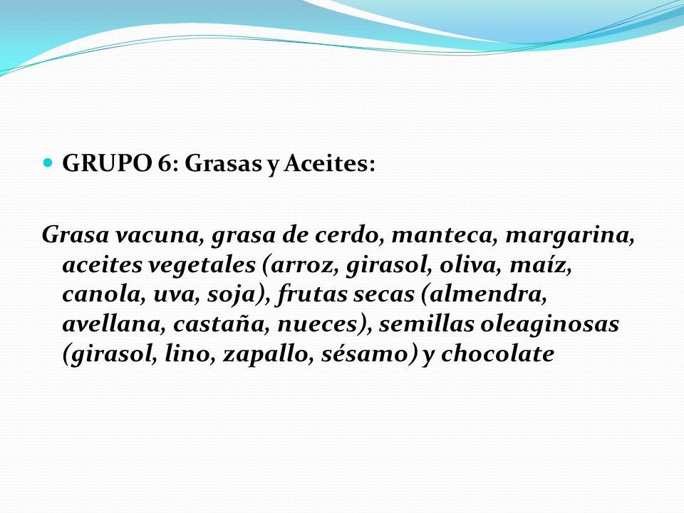 GRUPO 6: Grasas y Aceites: Grasa vacuna, grasa de cerdo, manteca, margarina, aceites vegetales (arroz, girasol, oliva, maíz, canola, uva, soja), fruta