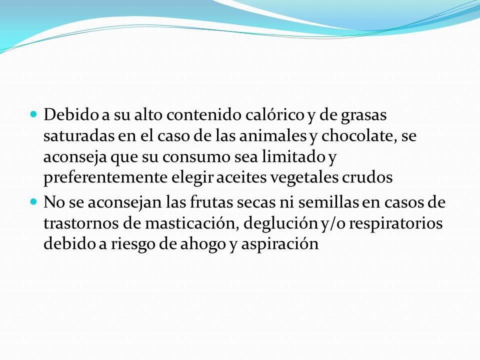 Debido a su alto contenido calórico y de grasas saturadas en el caso de las animales y chocolate, se aconseja que su consumo sea limitado y preferente