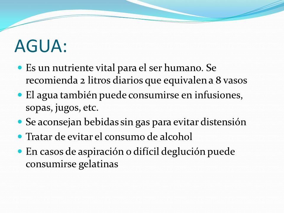 AGUA: Es un nutriente vital para el ser humano. Se recomienda 2 litros diarios que equivalen a 8 vasos El agua también puede consumirse en infusiones,