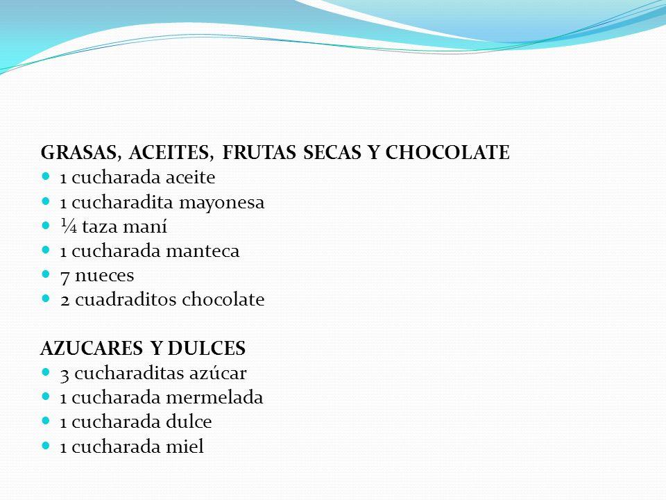 GRASAS, ACEITES, FRUTAS SECAS Y CHOCOLATE 1 cucharada aceite 1 cucharadita mayonesa ¼ taza maní 1 cucharada manteca 7 nueces 2 cuadraditos chocolate A