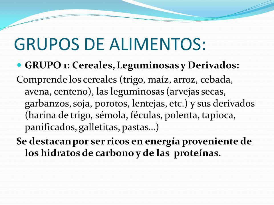 GRUPOS DE ALIMENTOS: GRUPO 1: Cereales, Leguminosas y Derivados: Comprende los cereales (trigo, maíz, arroz, cebada, avena, centeno), las leguminosas
