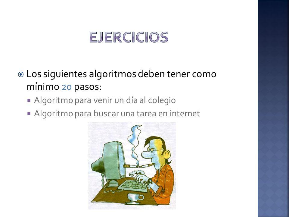 Los siguientes algoritmos deben tener como mínimo 20 pasos: Algoritmo para venir un día al colegio Algoritmo para buscar una tarea en internet