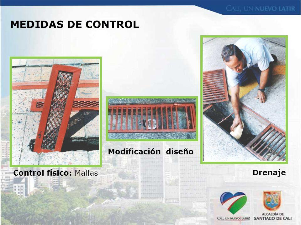 Control físico: Mallas Modificación diseño Drenaje MEDIDAS DE CONTROL