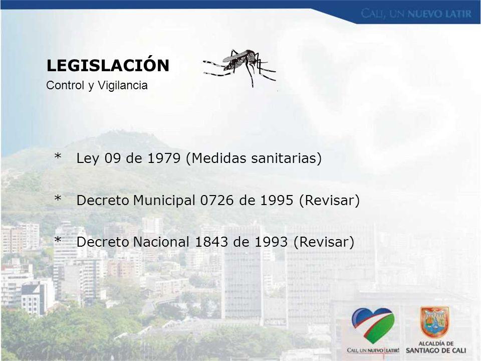 * Ley 09 de 1979 (Medidas sanitarias) * Decreto Municipal 0726 de 1995 (Revisar) * Decreto Nacional 1843 de 1993 (Revisar) LEGISLACIÓN Control y Vigil