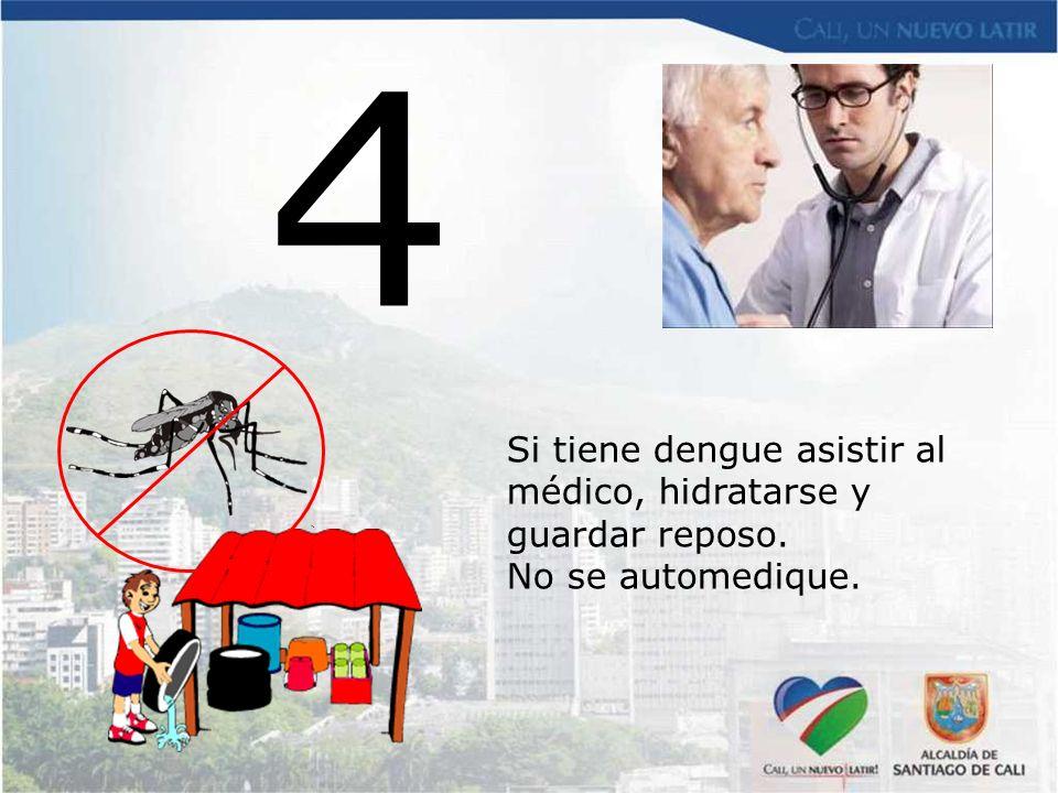 4 Si tiene dengue asistir al médico, hidratarse y guardar reposo. No se automedique.