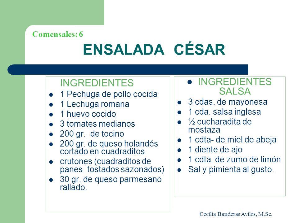 Cecilia Banderas Avilés, M.Sc. ENSALADA CÉSAR INGREDIENTES 1 Pechuga de pollo cocida 1 Lechuga romana 1 huevo cocido 3 tomates medianos 200 gr. de toc