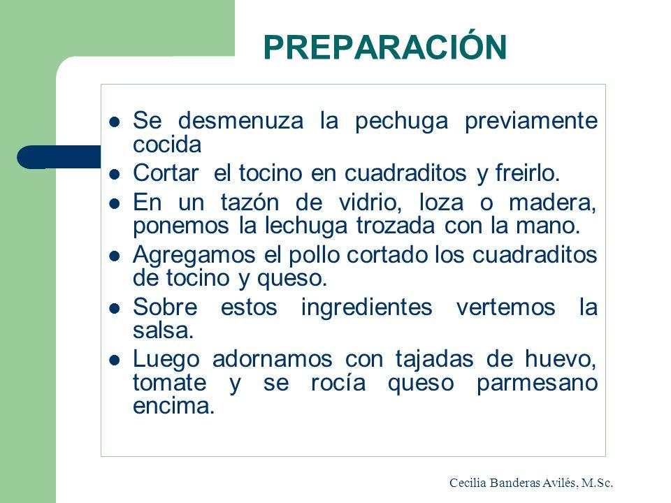 PREPARACIÓN Se desmenuza la pechuga previamente cocida Cortar el tocino en cuadraditos y freirlo. En un tazón de vidrio, loza o madera, ponemos la lec