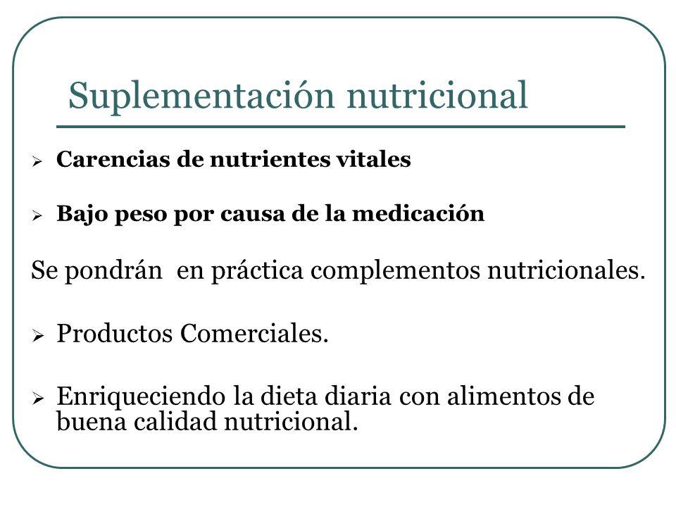 Suplementación nutricional Carencias de nutrientes vitales Bajo peso por causa de la medicación Se pondrán en práctica complementos nutricionales. Pro