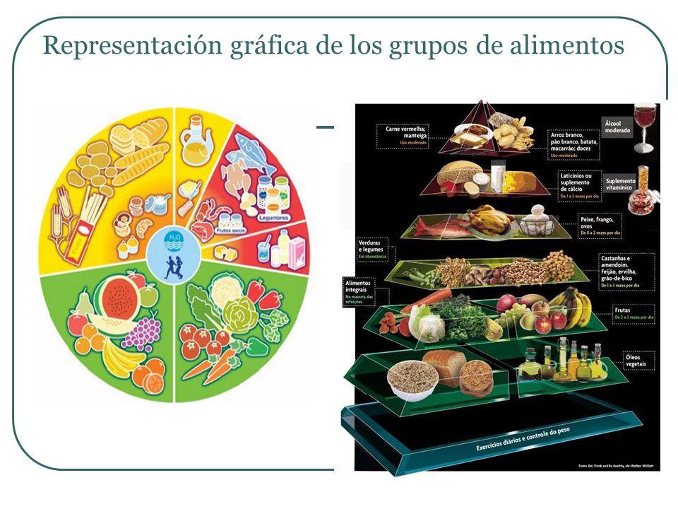 GRUPOS DE ALIMENTOS: Glúcidos Cereales, Féculas Verduras y Hortalizas Frutas Proteicos Lácteos Carnes, Huevos, pescados Aceites y Grasas Ácidos grasos.