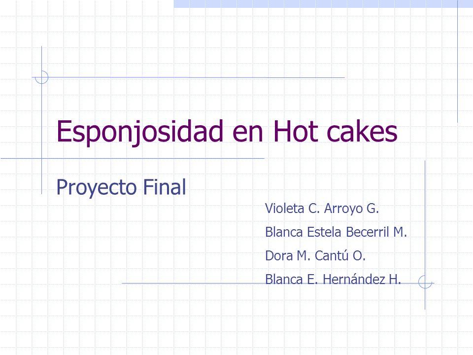 Esponjosidad en Hot cakes Proyecto Final Violeta C. Arroyo G. Blanca Estela Becerril M. Dora M. Cantú O. Blanca E. Hernández H.