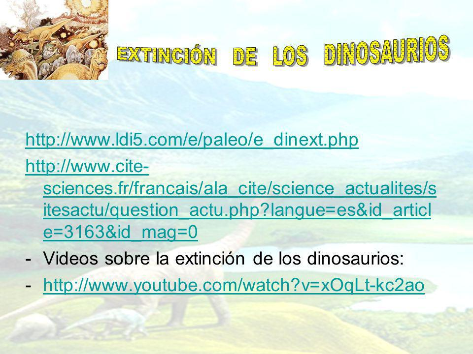 http://www.ldi5.com/e/paleo/e_dinext.php http://www.cite- sciences.fr/francais/ala_cite/science_actualites/s itesactu/question_actu.php?langue=es&id_a
