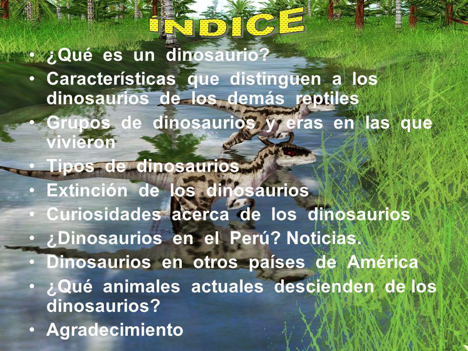 ¿Qué es un dinosaurio? Características que distinguen a los dinosaurios de los demás reptiles Grupos de dinosaurios y eras en las que vivieron Tipos d