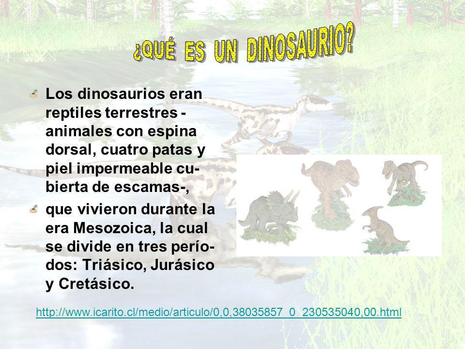 Los dinosaurios eran reptiles terrestres - animales con espina dorsal, cuatro patas y piel impermeable cu- bierta de escamas-, que vivieron durante la