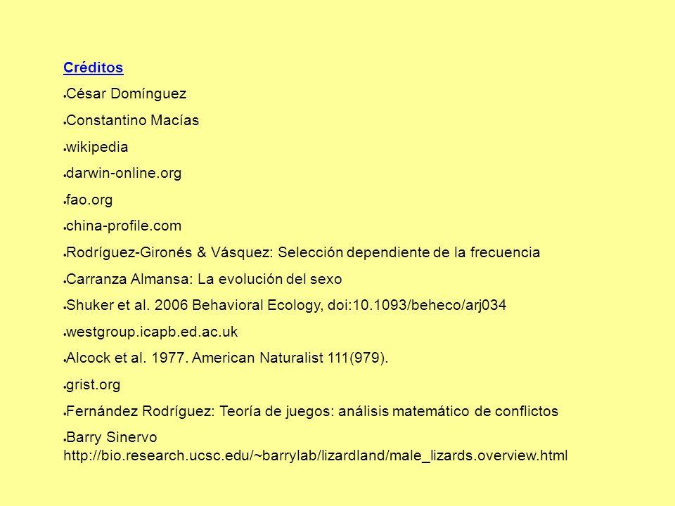 Créditos César Domínguez Constantino Macías wikipedia darwin-online.org fao.org china-profile.com Rodríguez-Gironés & Vásquez: Selección dependiente de la frecuencia Carranza Almansa: La evolución del sexo Shuker et al.