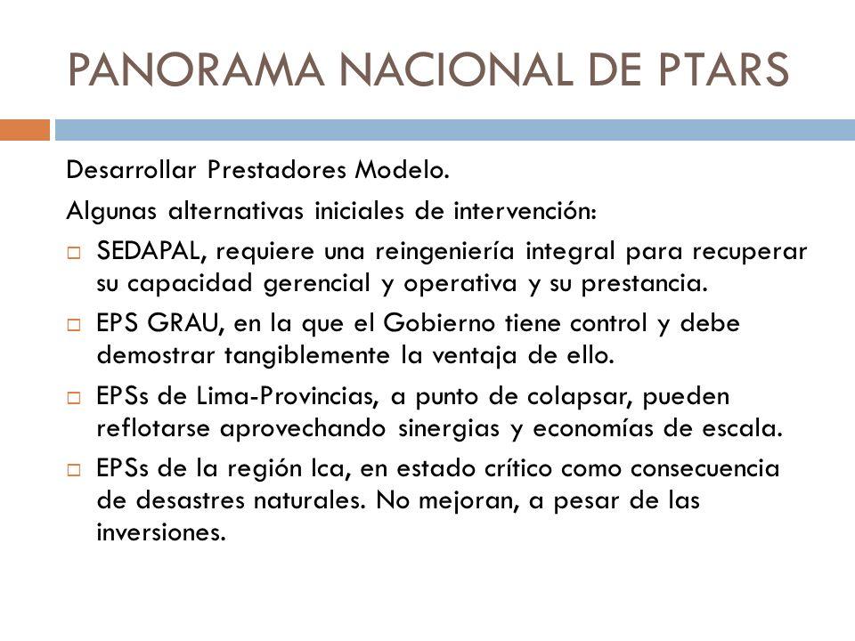 PANORAMA NACIONAL DE PTARS Desarrollar Prestadores Modelo. Algunas alternativas iniciales de intervención: SEDAPAL, requiere una reingeniería integral