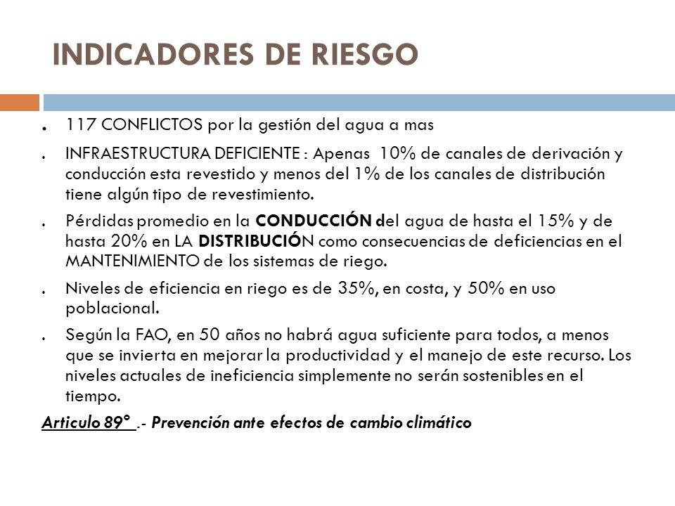 INDICADORES DE RIESGO. 117 CONFLICTOS por la gestión del agua a mas.INFRAESTRUCTURA DEFICIENTE : Apenas 10% de canales de derivación y conducción esta