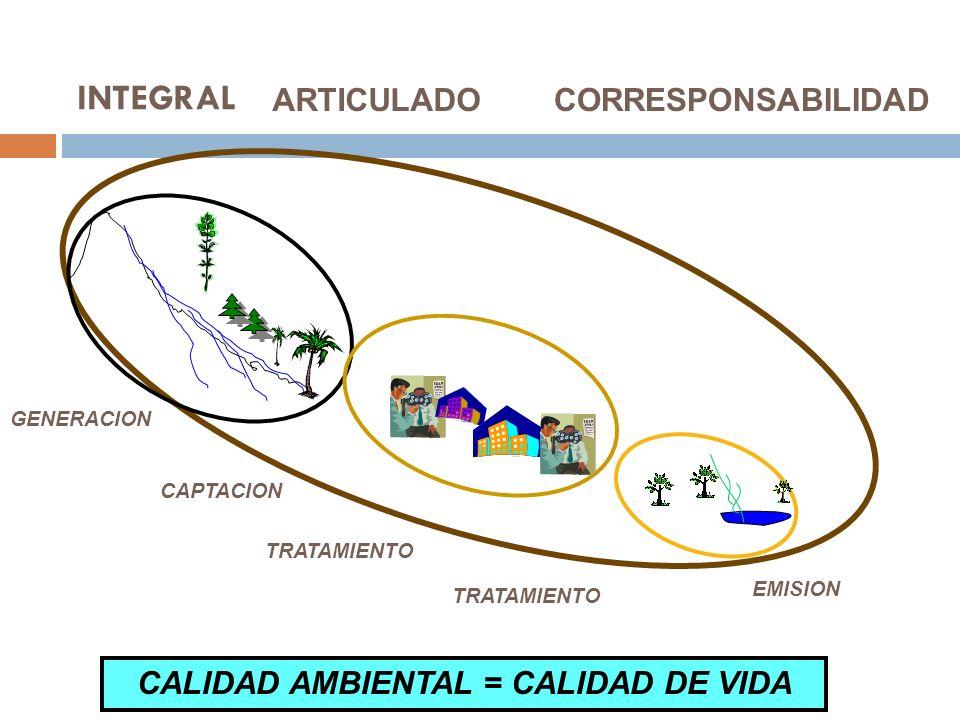 GENERACION CAPTACION TRATAMIENTO EMISION INTEGRAL ARTICULADO CORRESPONSABILIDAD CALIDAD AMBIENTAL = CALIDAD DE VIDA