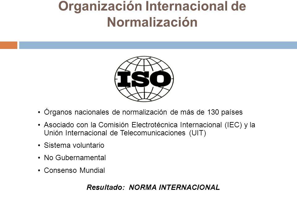 Organización Internacional de Normalización Órganos nacionales de normalización de más de 130 países Asociado con la Comisión Electrotécnica Internaci