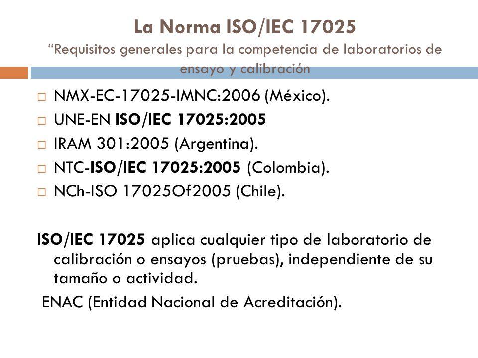 La Norma ISO/IEC 17025 Requisitos generales para la competencia de laboratorios de ensayo y calibración NMX-EC-17025-IMNC:2006 (México). UNE-EN ISO/IE