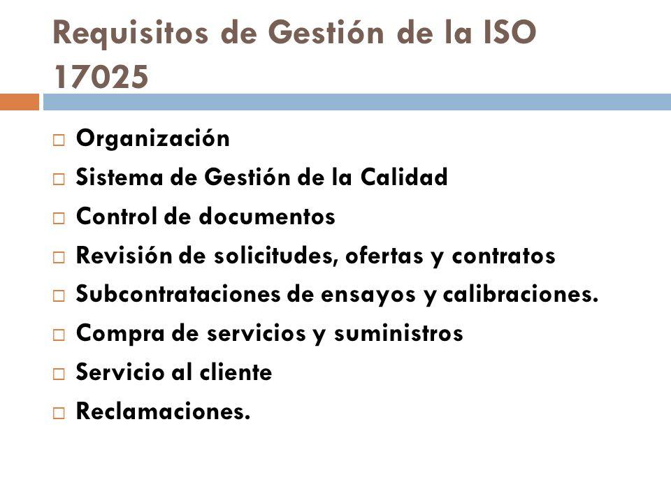 Requisitos de Gestión de la ISO 17025 Organización Sistema de Gestión de la Calidad Control de documentos Revisión de solicitudes, ofertas y contratos
