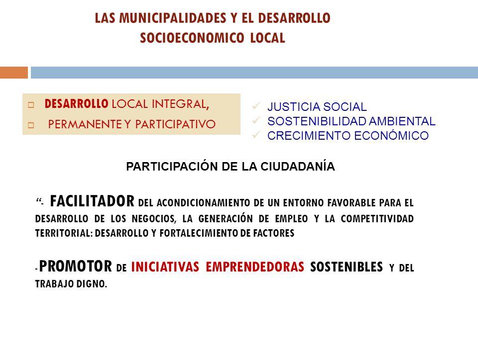 LAS MUNICIPALIDADES Y EL DESARROLLO SOCIOECONOMICO LOCAL DESARROLLO LOCAL INTEGRAL, PERMANENTE Y PARTICIPATIVO JUSTICIA SOCIAL SOSTENIBILIDAD AMBIENTA