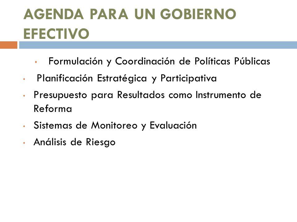 AGENDA PARA UN GOBIERNO EFECTIVO Formulación y Coordinación de Políticas Públicas Planificación Estratégica y Participativa Presupuesto para Resultado