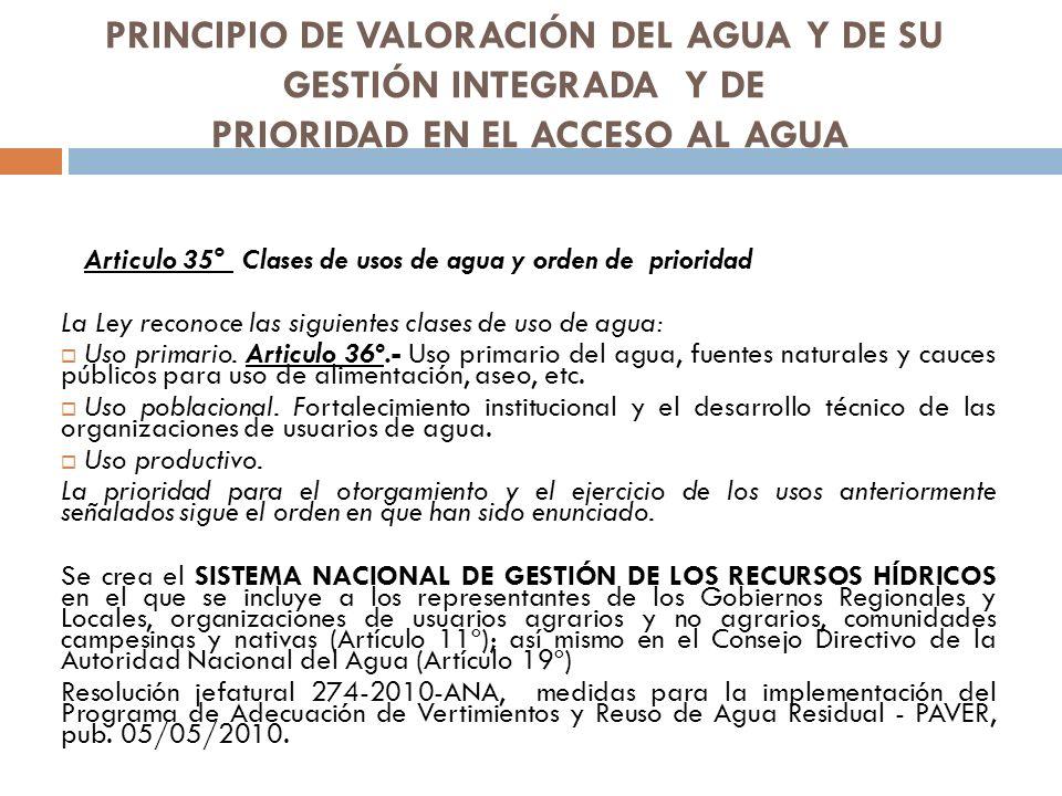 PRINCIPIO DE VALORACIÓN DEL AGUA Y DE SU GESTIÓN INTEGRADA Y DE PRIORIDAD EN EL ACCESO AL AGUA Articulo 35° Clases de usos de agua y orden de priorida