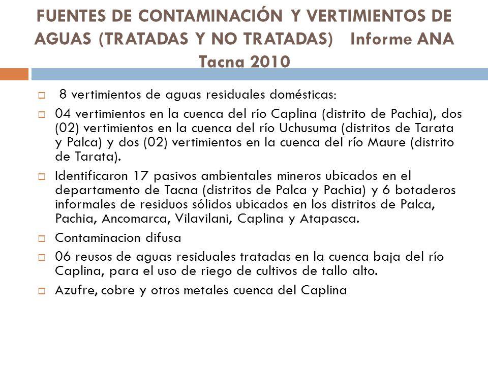 FUENTES DE CONTAMINACIÓN Y VERTIMIENTOS DE AGUAS (TRATADAS Y NO TRATADAS) Informe ANA Tacna 2010 8 vertimientos de aguas residuales domésticas: 04 ver