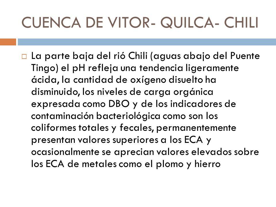 CUENCA DE VITOR- QUILCA- CHILI La parte baja del rió Chili (aguas abajo del Puente Tingo) el pH refleja una tendencia ligeramente ácida, la cantidad d